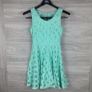 City Studio Blue Floral Crochet Sleeveless Dress